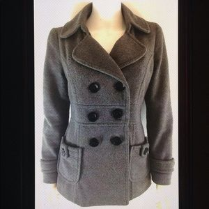 Forever 21 Double Breasted Lined Button Pea Coat
